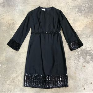 Vintage Johnnye Mesh Sequin LBD Sheath Party Dress
